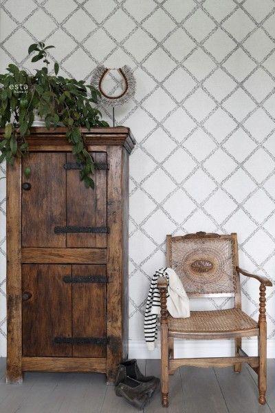148666 krijtverf eco texture vliesbehang oosters berber tapijt zwart en mat wit