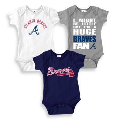 MLB Atlanta Braves Blue Bodysuits (Set of 3) - buybuyBaby.com