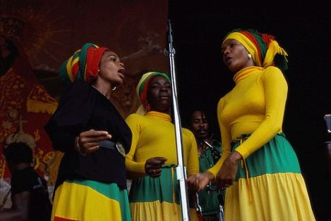 The I-Threes Rita Marley, Judy Mowatt and Marcia Griffiths  Bob Marley's back up singers; fashionable songbirds