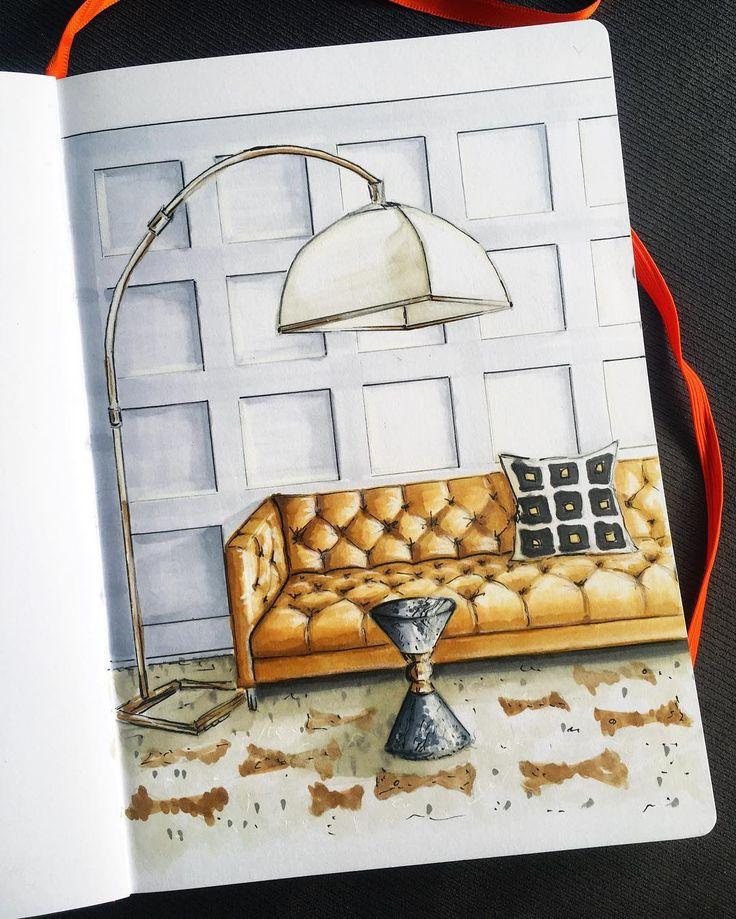 Мой ответ желтому дивану ✌️ #interior_challenge  _________ Каретная стяжка рулит))) хочешь размять пальцы и мозг - порисуй какой-нибудь честерфилд  Если что, это о диване)