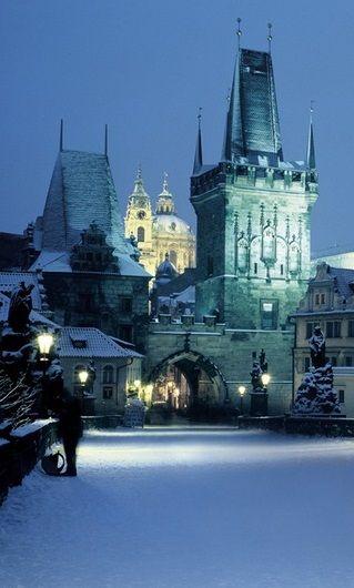 Vista invernal de Praga, República Checa.