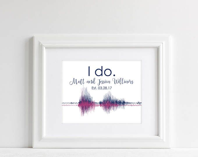 Paper Anniversary Gift for Her Sound Wave Art Wedding Vow