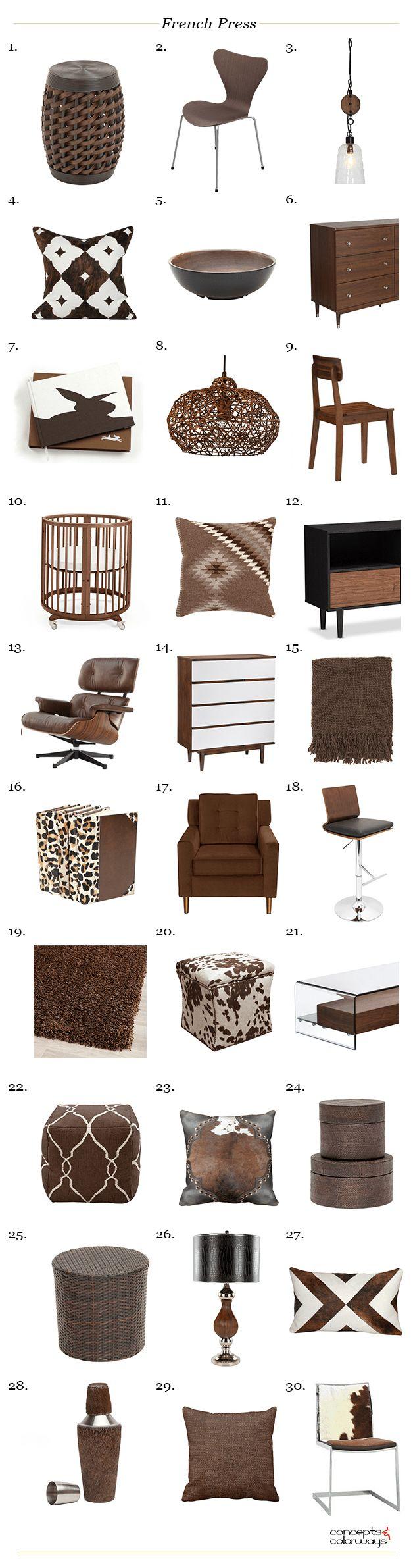 Paredes con color y accesorios neutrales - Benjamin Moore French Press Chocolate Brown Product Roundup Interior Styling Ideas Interior Design