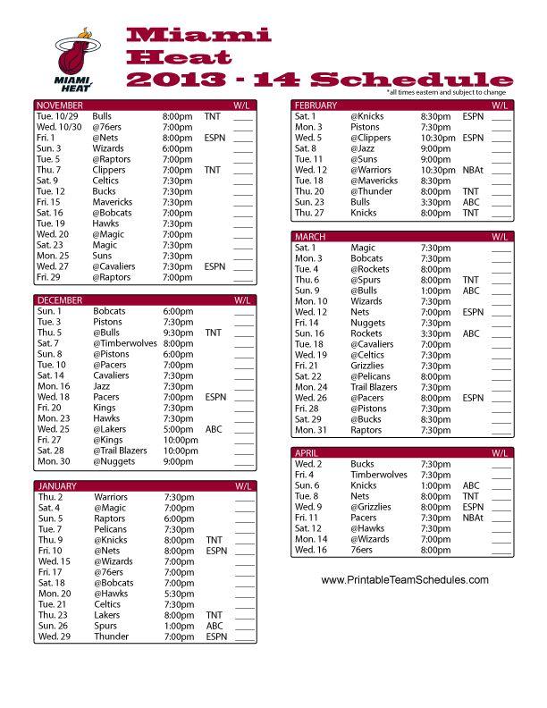 Miami Heat 2013-2014 Schedule