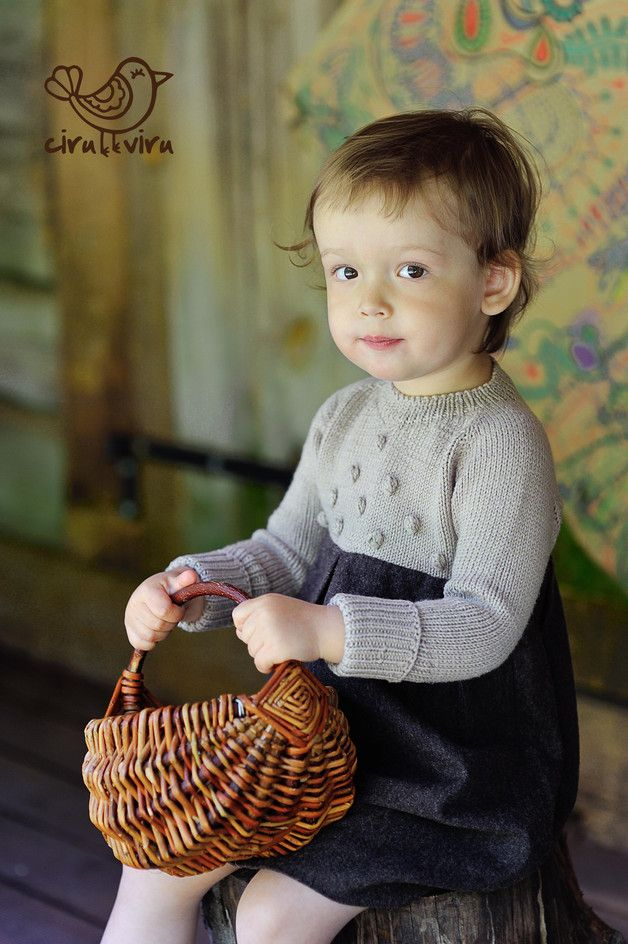 his is a soft and comfortable dress for your little Miss, and oh so practical. The upper part is hand knit without seams from a blend of 52% Merino wool and 48% cotton. Merino wool effectively...