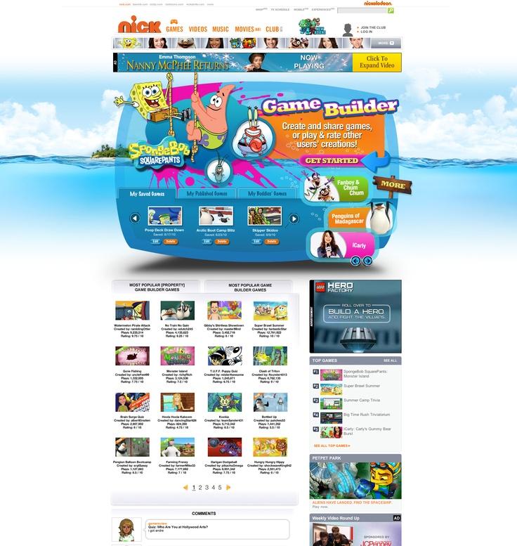 Nick - Game Builder website design
