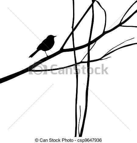 Stock Illustratie - hout,  silhouette, vogel, tak - stock illustratie, rechtenvrije illustraties, stock clipart symbool, stock clip art pictogram, logo, lijnkunst, beelden, grafieken, grafiek, tekening, tekeningen, kunstwerk