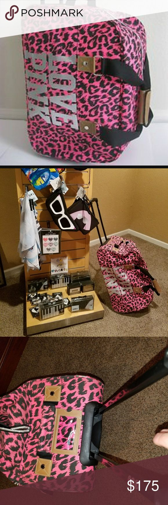 Rare Vs Pink ..Pink Cheetah print Wheelie Eeuc like new. Rare pink cheetah print wheelie. By Vs Pink. Huge bag can fit alot but could also be used as a carry on! Travel in Style! Dont miss out on this great deal! PINK Victoria's Secret Bags Travel Bags