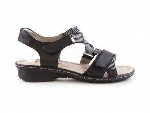 Dámské sandály na suchý zip na podpatku šíře G D2757-01 / černá