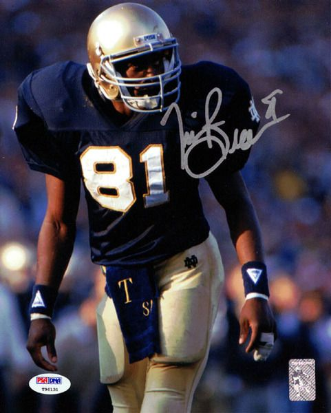 Tim Brown Autographed 8x10 Photo Notre Dame Fighting Irish PSA/DNA Stock #60742