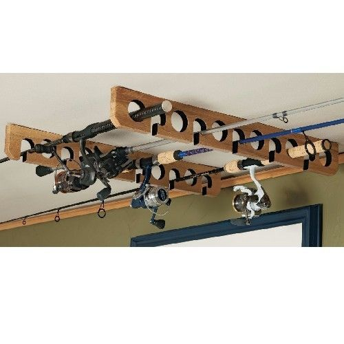 Fishing Rod Rack Storage Overhead Ceiling Wall Mount Pole Holder Felt Lined #OrganizedFishing