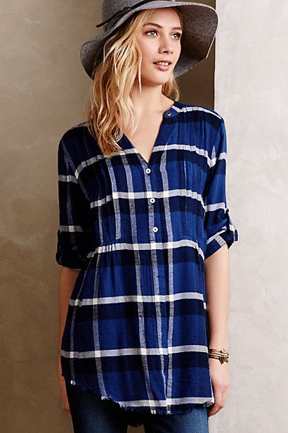 Pintucked Flannel Tunic - anthropologie.com  This is essentially everything I love in a shirt. Plaid? Check. Tunic length? Check. Great colors? Check.  I would totally wear this with black leggings, boots and a great cable knit infinity scarf like this one.
