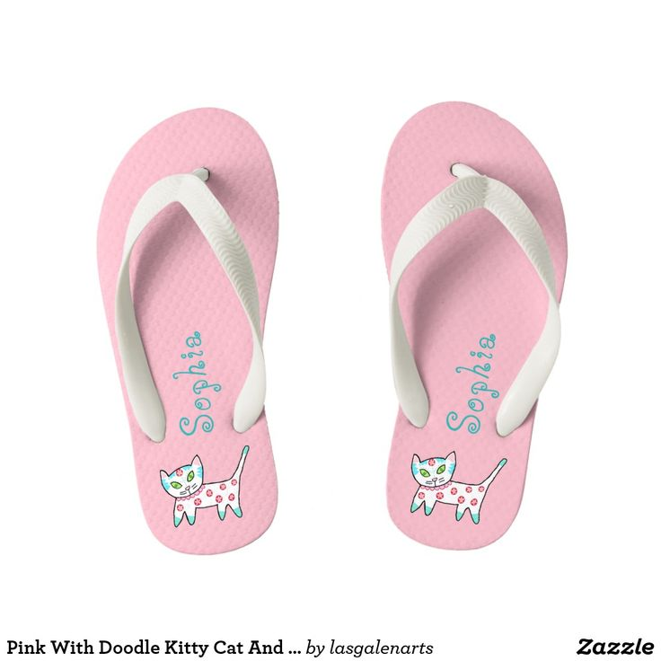 Pink With Doodle Kitty Cat And Name Kid's Flip Flops are perfect for keeping little feet from hot sand and pavement. The pink background is so girly and the cute kitty cat is as whimsical as the custom name. The white kitty has teal, pink and blue curly cues and flowers too. The matching teal name is easy to personalize. Both the doodle kitty cat and name are found on both right and left flip flop. Add the wide white straps for comfort and better keep these flip flops on small feet.