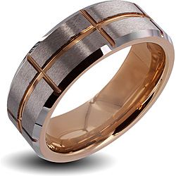 Men S Tungsten Carbide Brushed Center Rose Gold Cross Grooved Ring