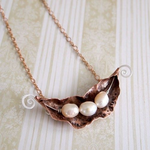 Pearl Three Peas In A Pod with Silver Tendril Handmade Copper Necklace by Popnicute