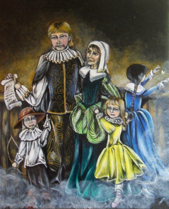 painting by author Sharon Desruisseaux of Hebert family (For more on author #Sharon Desruisseaux or #sharondnovels, check out www.sharondnovels.com. Also on Tumblr and Facebook as sharondnovels and Twitter as Sharondy) Happy Reading! :)