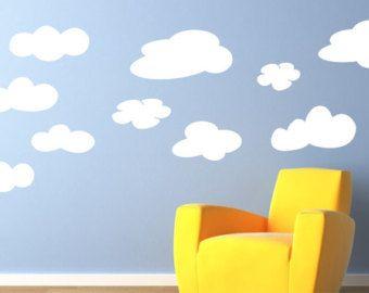 Wolk muur stickers - pluizige wolken Kids muur stickers - Vinyl belettering Decal Wall Art - Childrens muur sticker