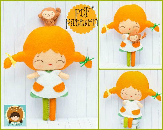 PDF pattern. Pippi and her monkey. Doll pattern. by Noialand, $7.00