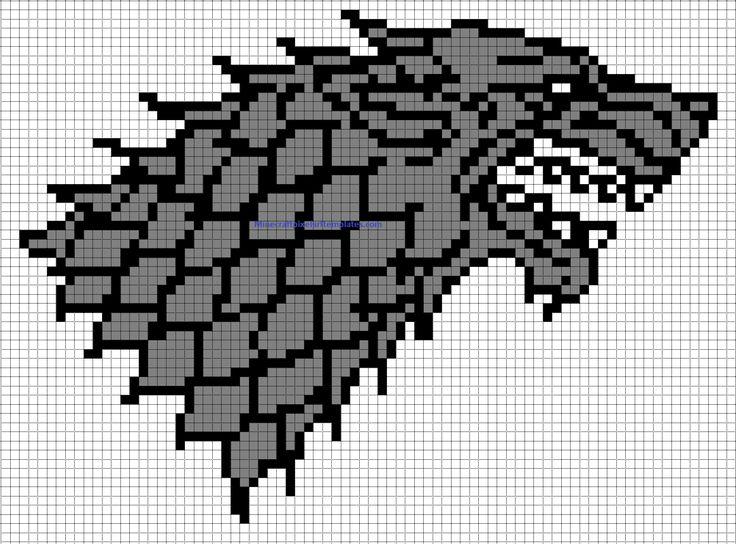 Minecraft Pixel Art Templates: House Stark badge (Game of thrones) | Let's Build | Cross stitch ...