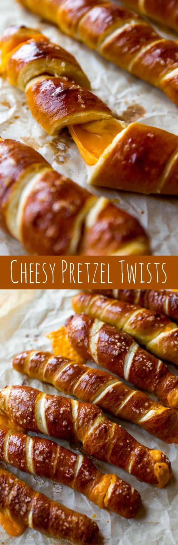 Simple homemade pretzel dough wrapped around cheddar cheese-- so simple yet hit-the-spot delicious! Recipe on sallysbakingaddiction.com