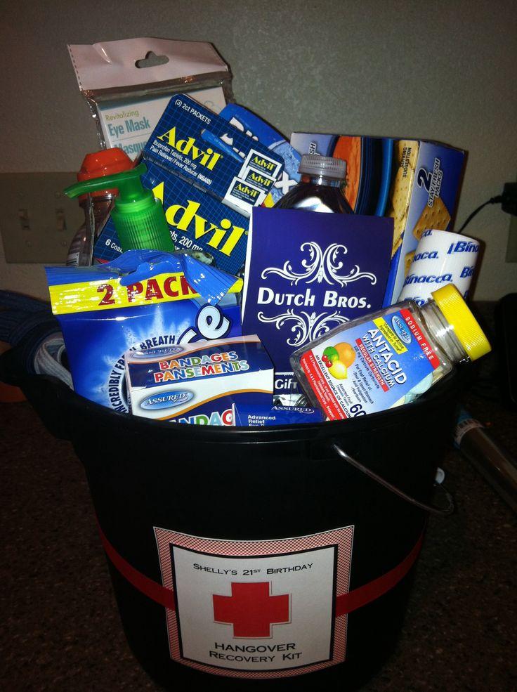 21st birthday Hangover recovery kit Advil, hair ties