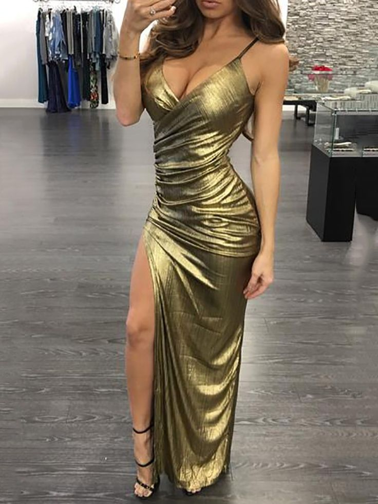 Sexy Spaghetti Cross Neck High Slit Pleated Dress