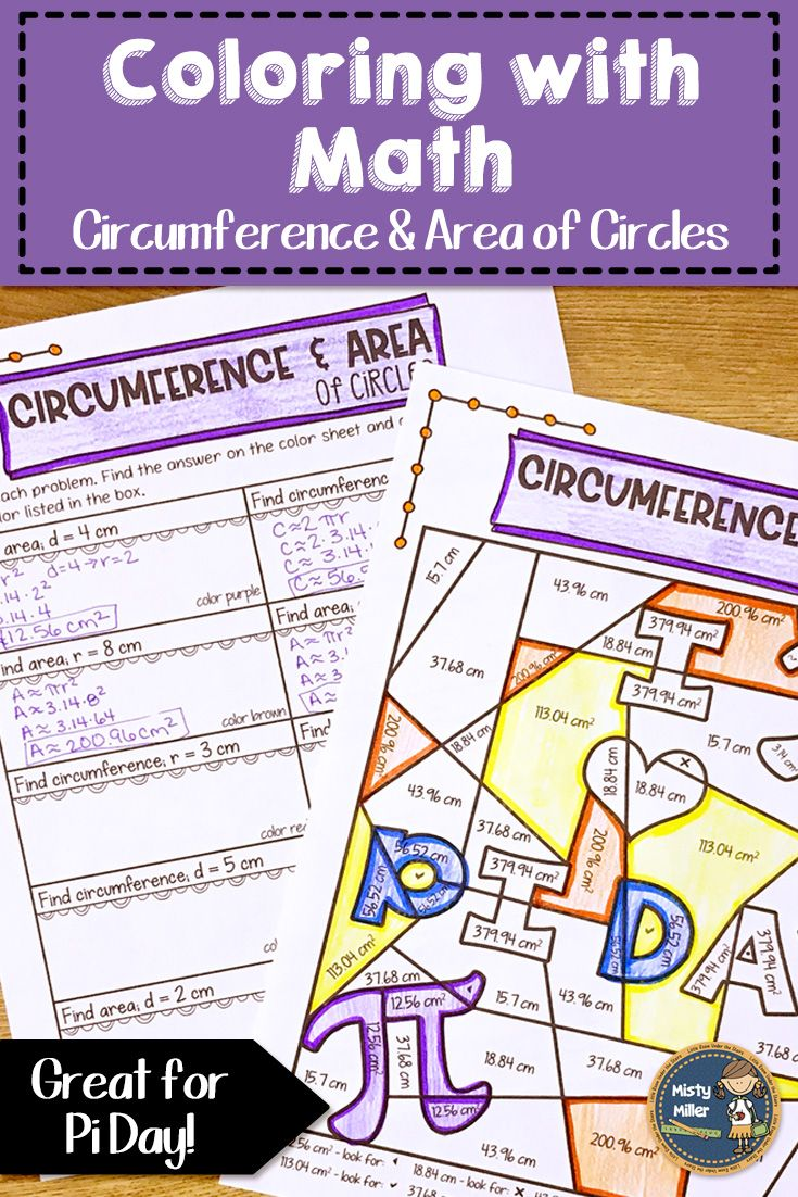 Circumference And Area Of Circles Coloring With Math Pi Day Math