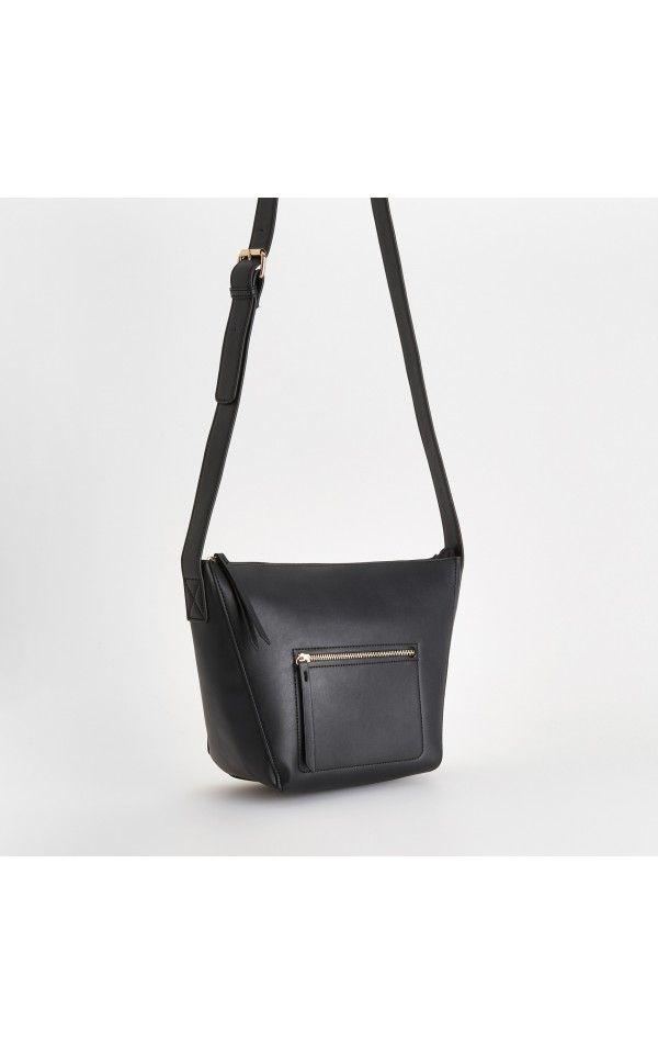 Geantă minimalistă cu buzunar, GENŢI, negru, RESERVED