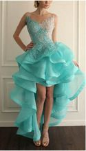 Backless Hoge Lage Prom Dresses 2016 Nieuwe Ruches Formele Avond Feestjurk Pageant Gown Custom ONS Grootte(China (Mainland))