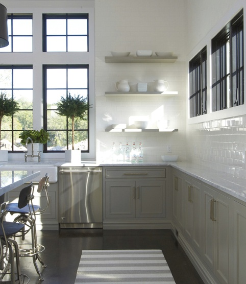 Oyster Grey Kitchen: Kitchen: Floating Shelves, Oyster Grey Cabinets
