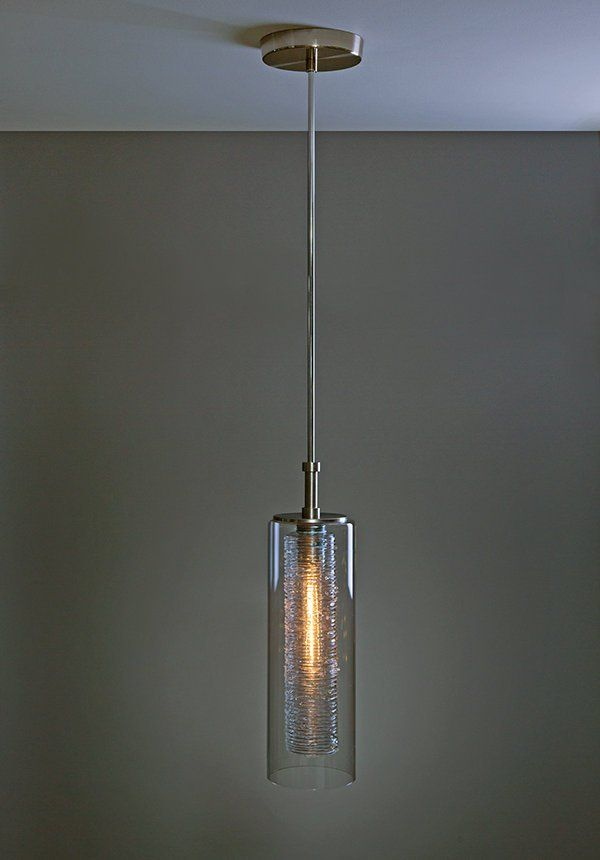 Hand Made Smooth Glass Cylinder Light Pendant With Textured Glass