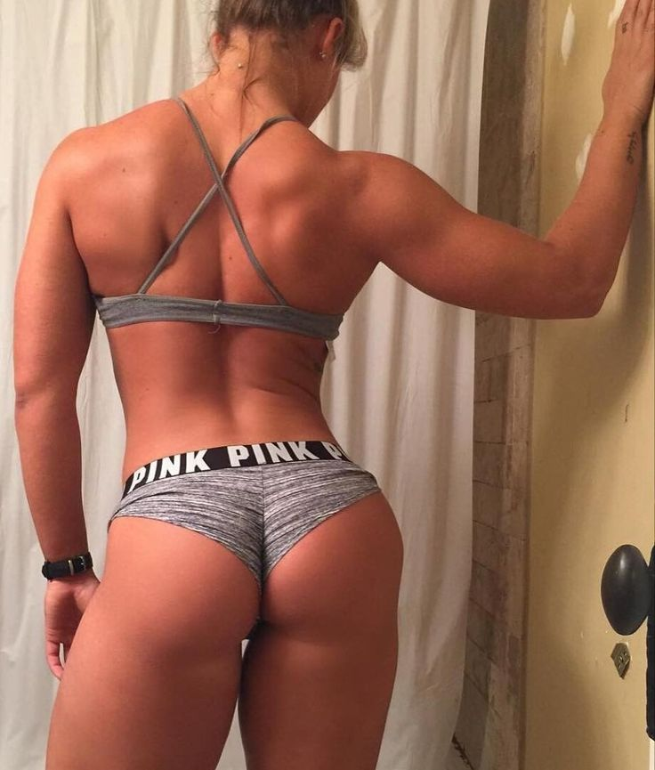 Buff bikini chicks ass