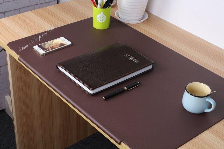 Leather Desk Pad Laptop Mat with Fixation Lip Office Supplies Desk Protector  #LeatherDeskPad