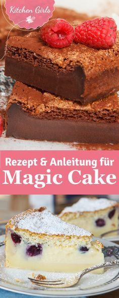 Nur ein Teig wir zu drei Schichten: Biskuit, Creme und Pudding. Wir haben die Rezepte für Magic Cake