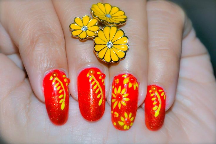Yellow Flower Nail Art ~ Red and Yellow Nail Design