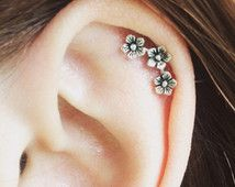 cartilage earring, cartilage stud, cartilage piercing, sterling silver - three flowers