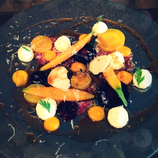 Steamed and lightly pickled heritage carrots, truffle goats curd, carrot tops, black truffle, wee three pigs farm fennel salami salad at Artichoke, Old Amersham