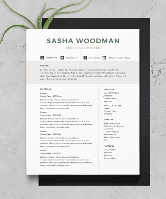 resume template minimal resume cover letter 1 page resume 2