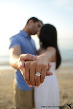 Engagement picture ideas on the beach, showing off the ring | Edgewater Beach, Cleveland, OH | Nirali & Ankit Engagement Pictures |Deanna Loren Photography