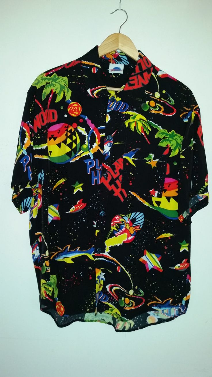 90's Planet Hollywood Men's Dress Shirt Surfer Outer Space Theme 100% Rayon Resort Wear Style Slouchy Beach Wear Size L by ZoomVintage on Etsy