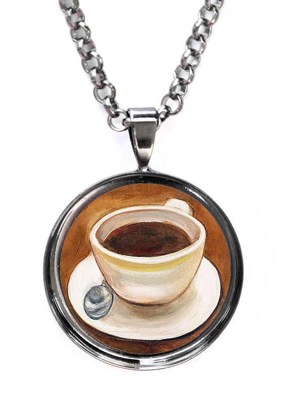 Black Coffee Pendant Necklace by ScentedSweets on Etsy