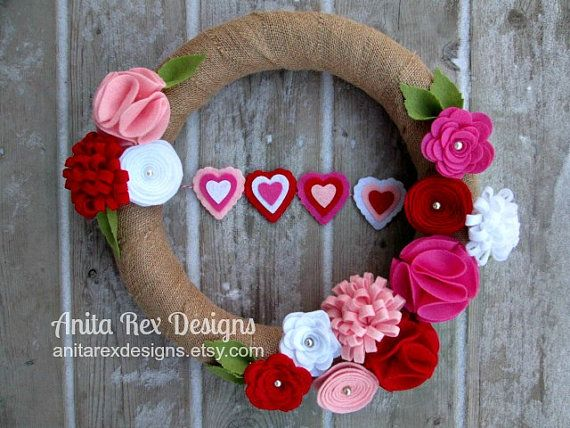 Corona di San Valentino cuore Banner ghirlanda di AnitaRexDesigns
