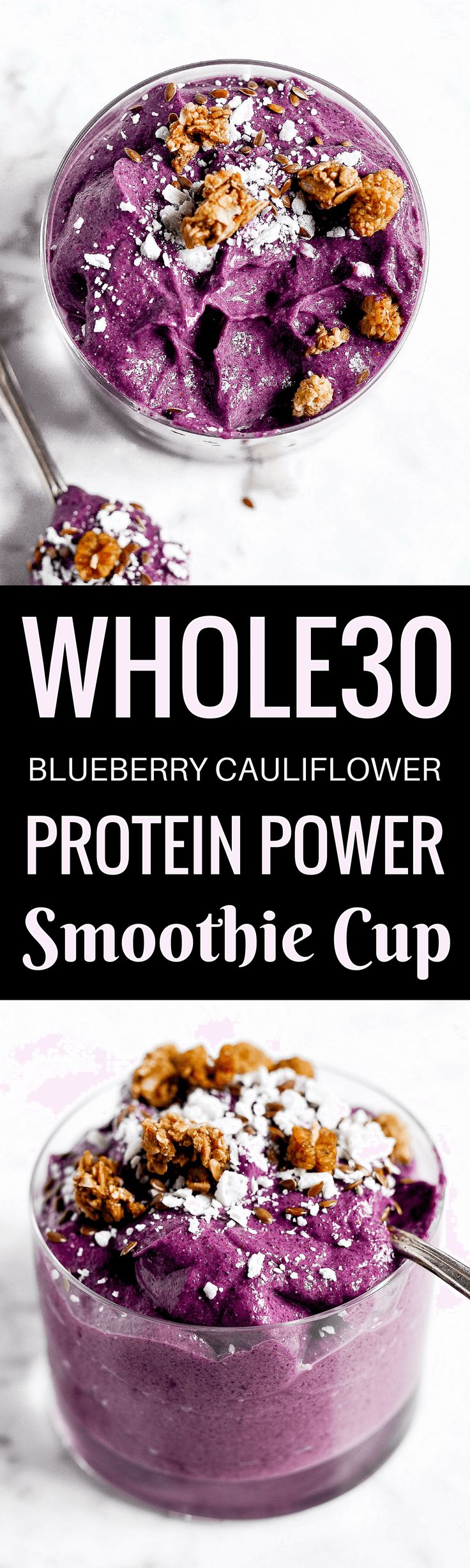 Protein packed blueberry cauliflower smoothie with 18g protein! A creamy, smooth, whole30 and paleo smoothie cup perfect for breakfast, lunch, or dinner! Whole30 breakfast ideas. Easy Whole30 breakfast recipe. Best smoothie recipes. Blueberry smoothie recipe. whole30 meal plan. Easy whole30 dinner recipes. Easy whole30 dinner recipes. Whole30 recipes. Whole30 lunch. Whole30 meal planning. Whole30 meal prep. Healthy paleo meals. Healthy Whole30 recipes. Easy Whole30 recipes. Easy whole30…