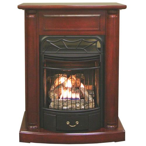 "Ventless Propane Fireplace with Mantel Surround  |  29""w x 37""h x 14""d  