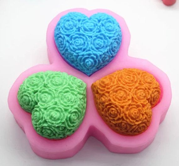 C374 love flowers cake mold handmade soap molds by sweetkitchen11