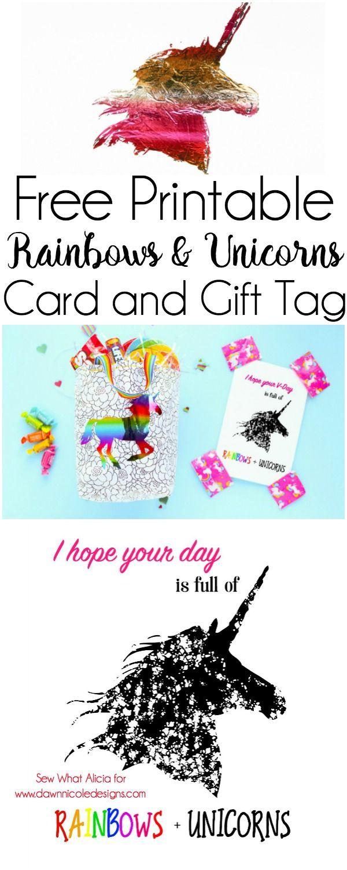 Free Printable Rainbows + Unicorns Card
