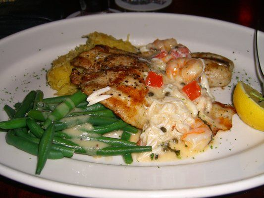 Costa Rican Tilapia Lafayette from Pappadeaux menu. My favorite dish at Pappasitos. Never disappoints. Spaghetti squash is great, and the flavor of the fish is outstanding. Love it.