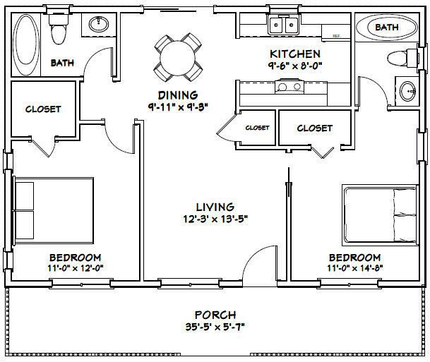 36x24 House 2 Bedroom 2 Bath 864 Sq Ft Pdf Floor Plan Model 3a 29 99 Picclick Floor Plans Tiny House Plans Apartment Floor Plans