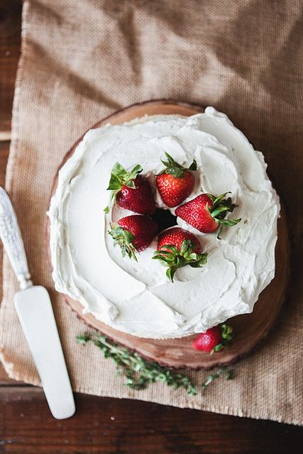 Angel food cake with homemade whipped cream + strawberries