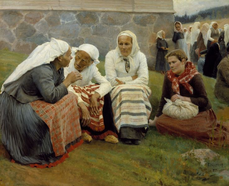 Mujeres fuera de la iglesia de Ruokolahti,1887